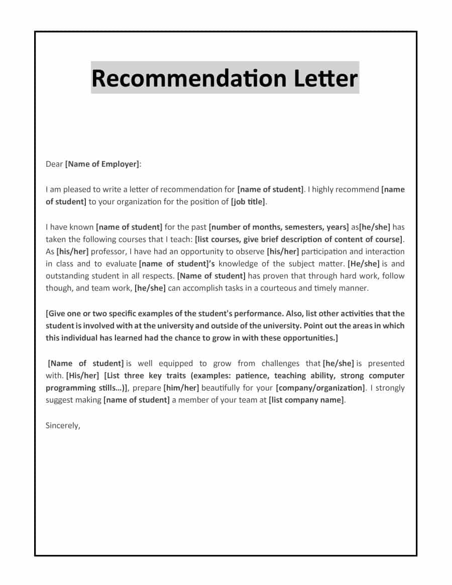 Printable Letter Of Recommendation Letter Of Recommendation