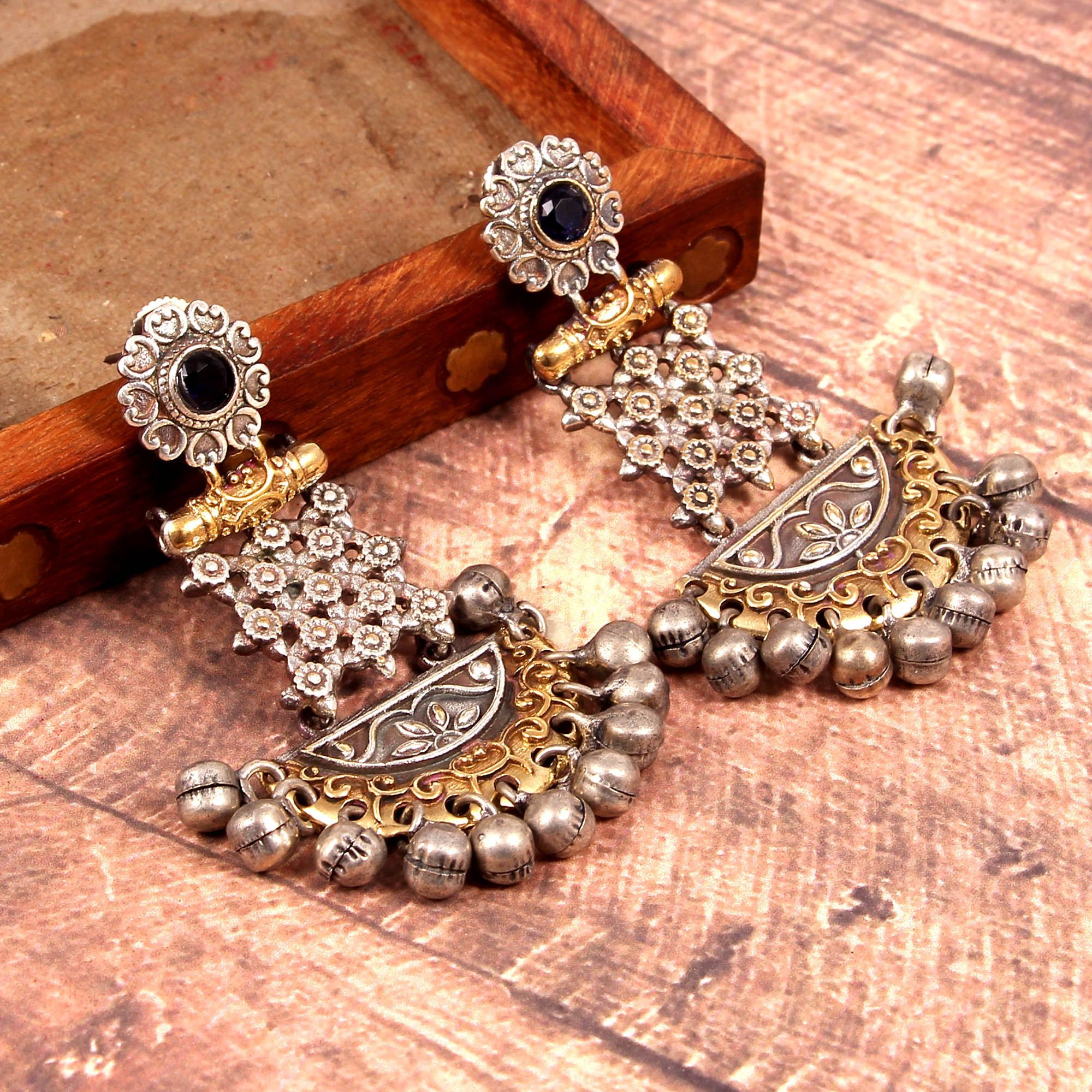 Golden Necklace Set With Earring for Woman and Girl Indian Oxidized Silver