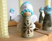Waldorf Snow Fairy, Holiday Ring Doll, Winter Doll, Winter Birthday, Winter Nature table, Wood, Wool, White, Snowflake, blue
