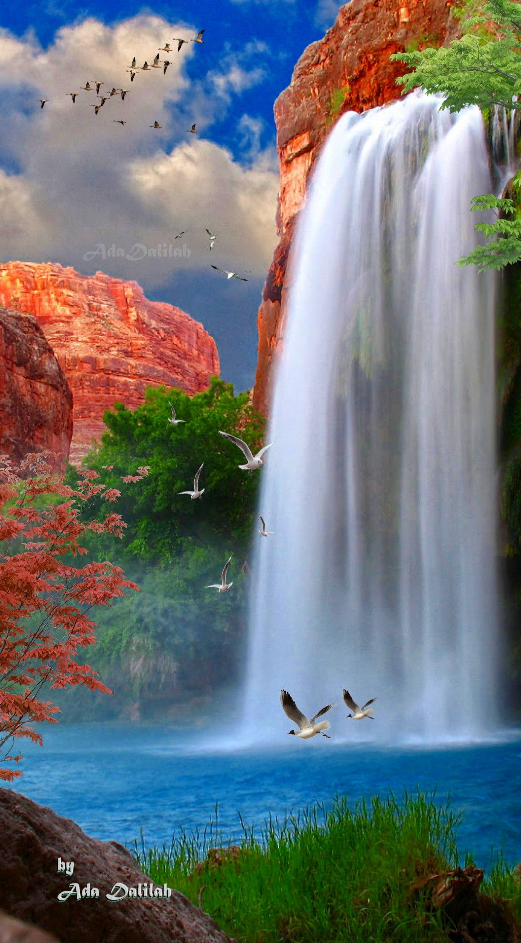 Pin By Ada Dalilah On Cascades Photo Montages Beautiful Landscapes Waterfall Nature