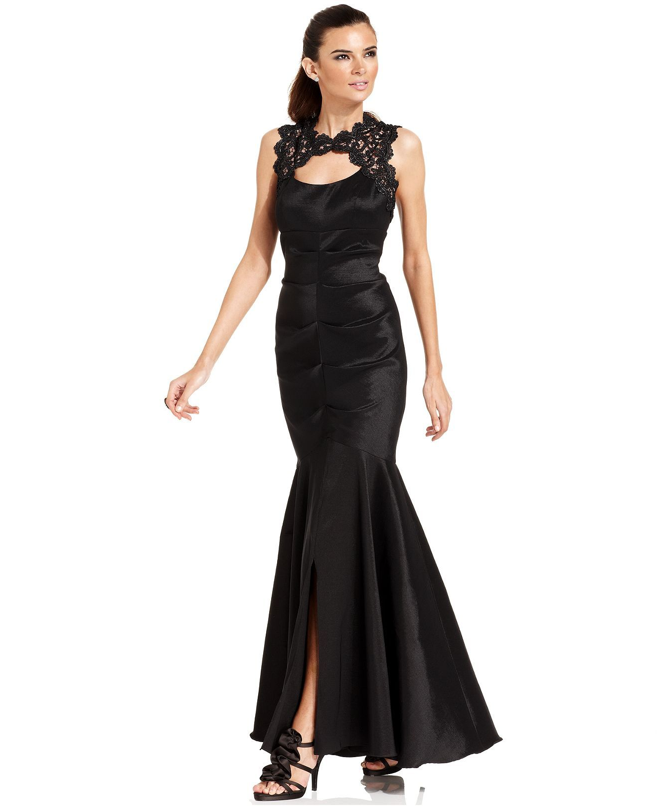 Xscape Dress, Sleeveless Glitter Lace Mermaid Gown - Juniors Dresses ...