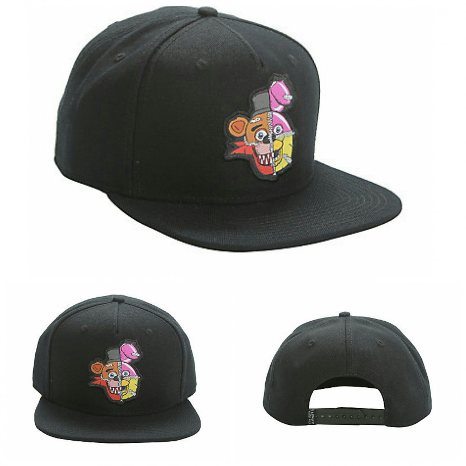 size 40 4e886 8b4a8 Five Nights At Freddy s   FANF Stitched Character s Adjustable Black Snapback  Hat Cap by Bioworld - Hot Topic Exclusive (Freddy Fazbear, Bonnie, Chica,  ...
