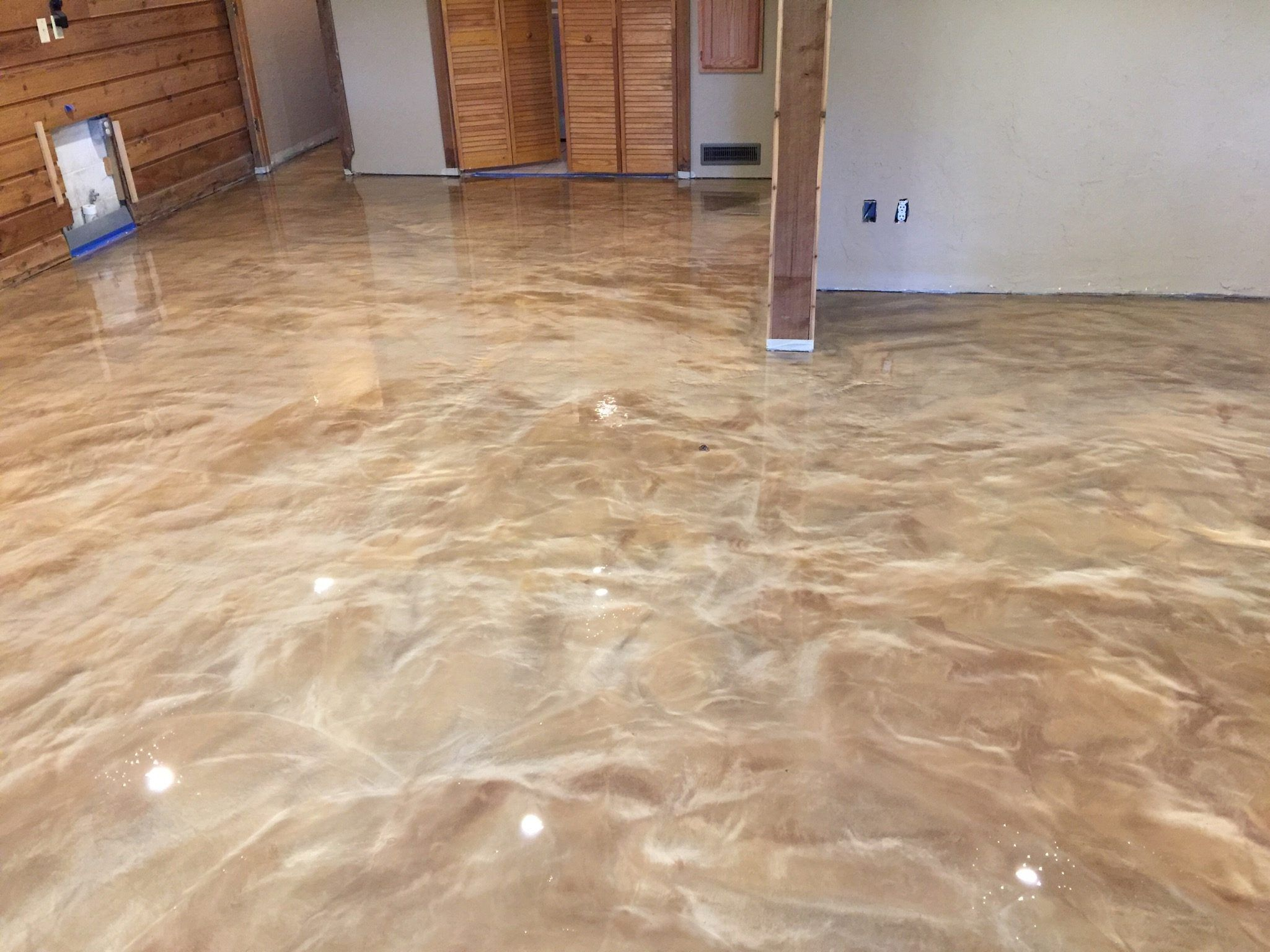 material epoxy basement basemen floors perfect self was our concrete cured leveling after for coating wanted water covering and level durable the r installed triple bright a customer proof porfolio custom floor