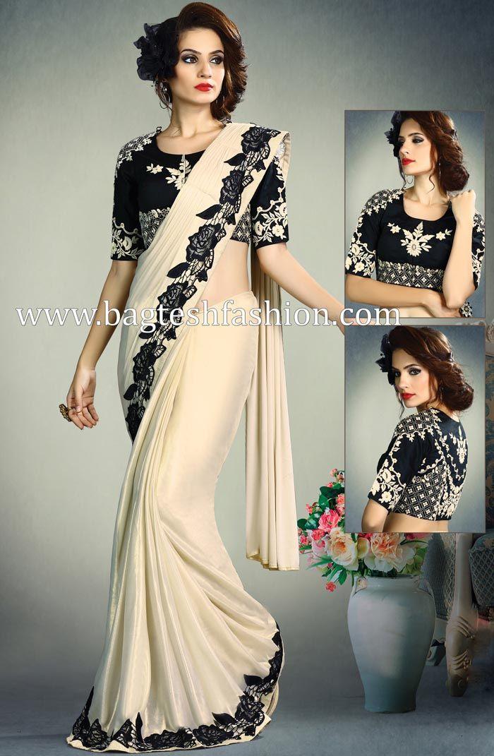 2c82ab5aea Amazing Ivory Shimmer Lycra Saree   Wedding sarees   Indian wedding ...