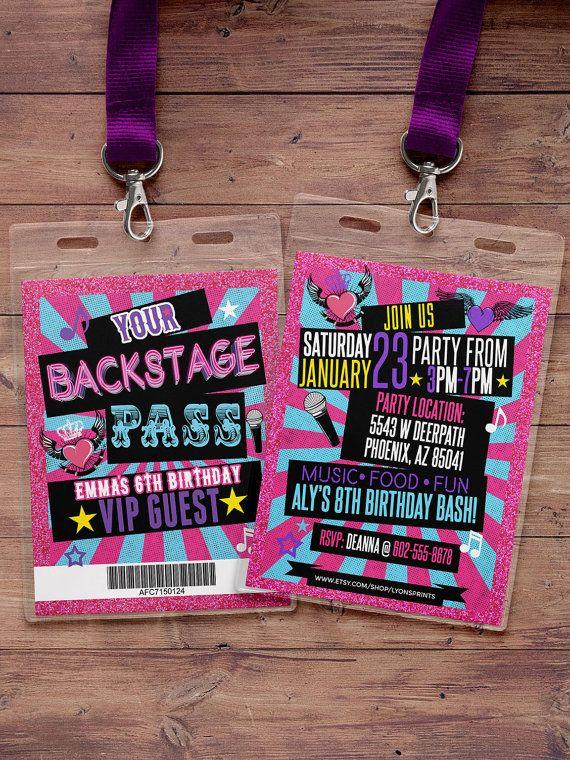Retro Neon Vip Pass Backstage Pass Vip Invitation Etsy Dance Party Birthday Rock Star Birthday Rockstar Birthday Party