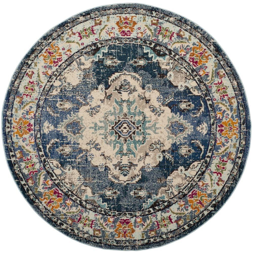 Safavieh Monaco Amelia Boho Medallion Rug Blue round rug