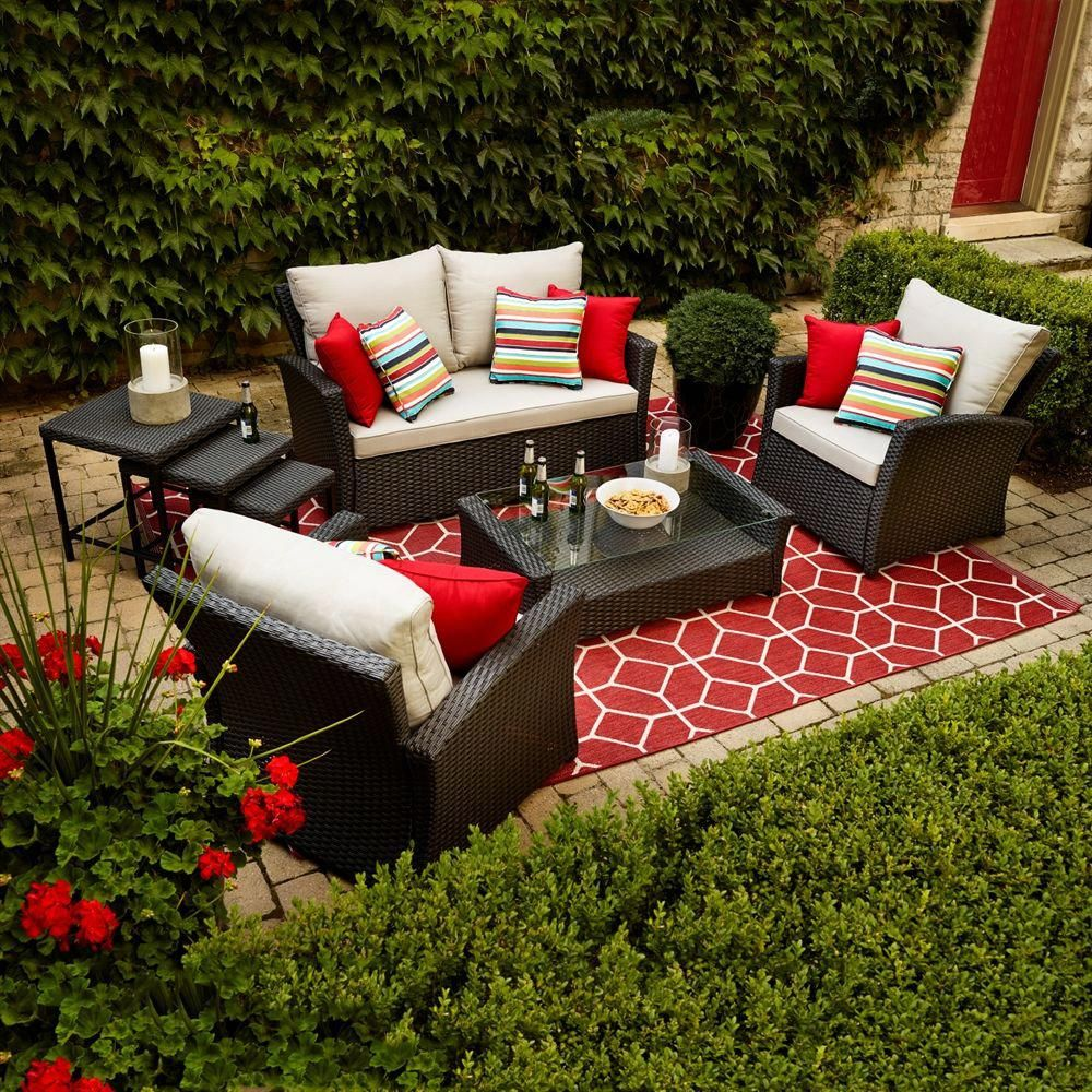 Allen Roth Piedmont 4 Piece Patio Conversation Set At Lowe S Canada Find Our Selection Of Outdoor Sets The Lowest Price Guaranteed