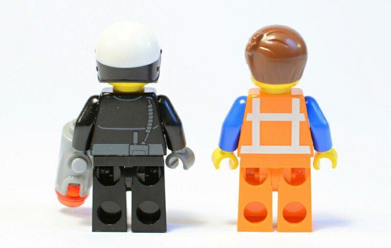 Back side of lego good cop bad cop and Emmit   lego   Pinterest   Lego
