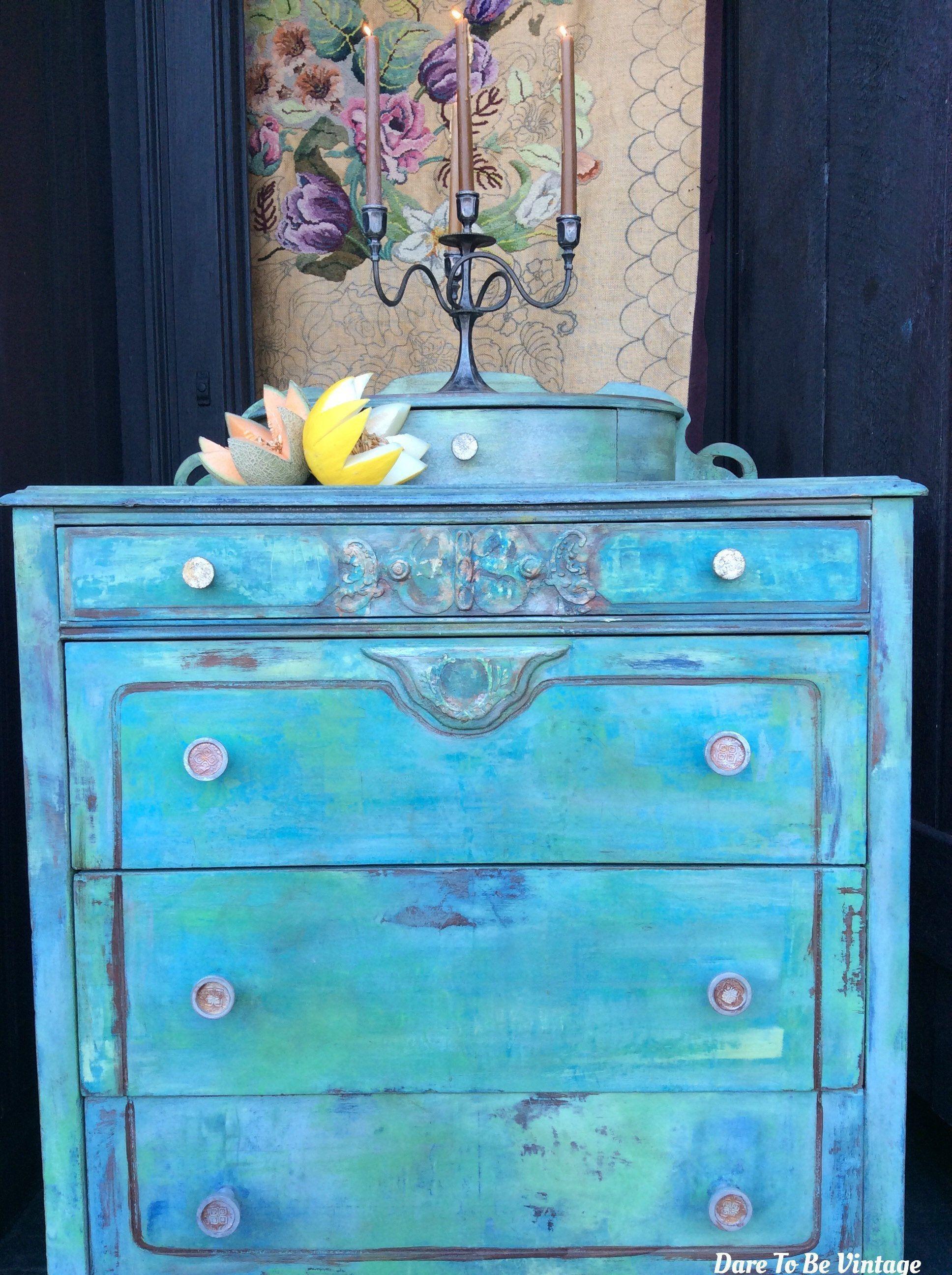 Painted Dresser Bohemian Vintage Dresser Vintage Dresser