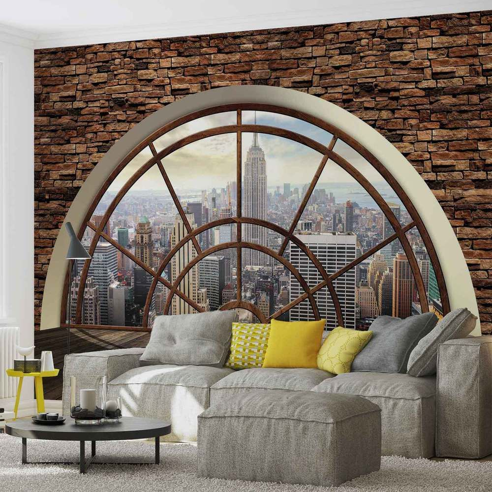 wall mural new york city skyline window xxl photo wallpaper 2397dc wall muriels pinterest. Black Bedroom Furniture Sets. Home Design Ideas