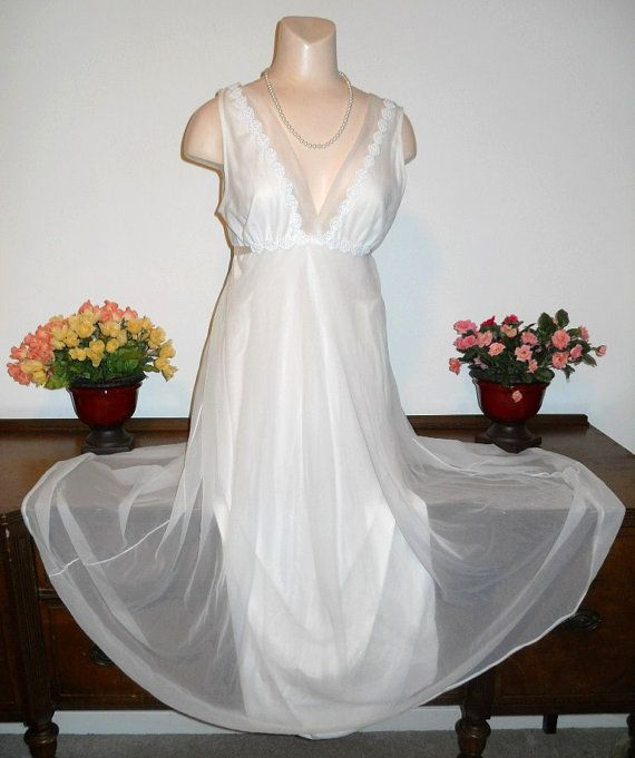 Vintage White Chiffon Long Nightgown ~ 1960 s Grecian Style ... badc58d45