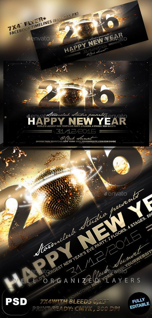 Happy New Year Flyer Template Flyer template, Psd templates and - new year brochure template