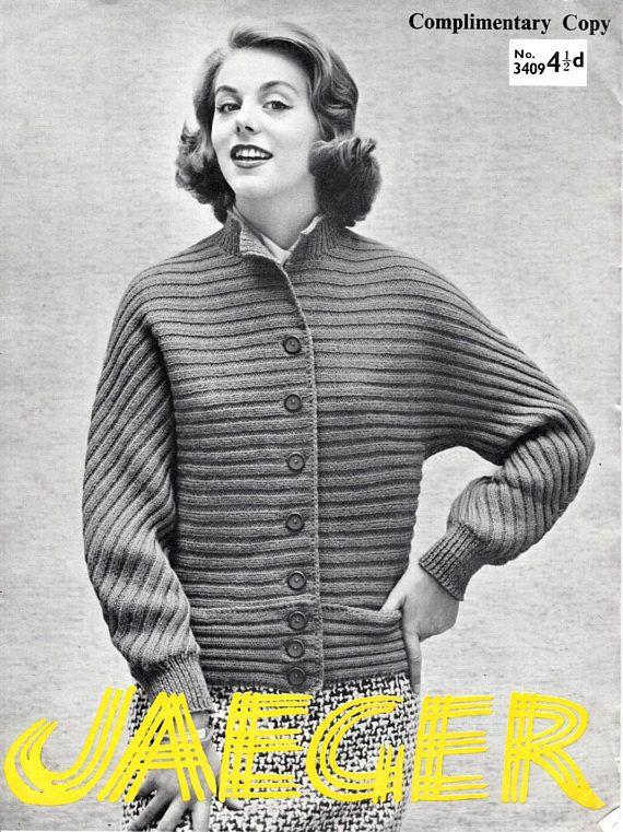 1950s Ladys Ribbed Jacket Vintage Cardigan Pattern 1950s Sweater