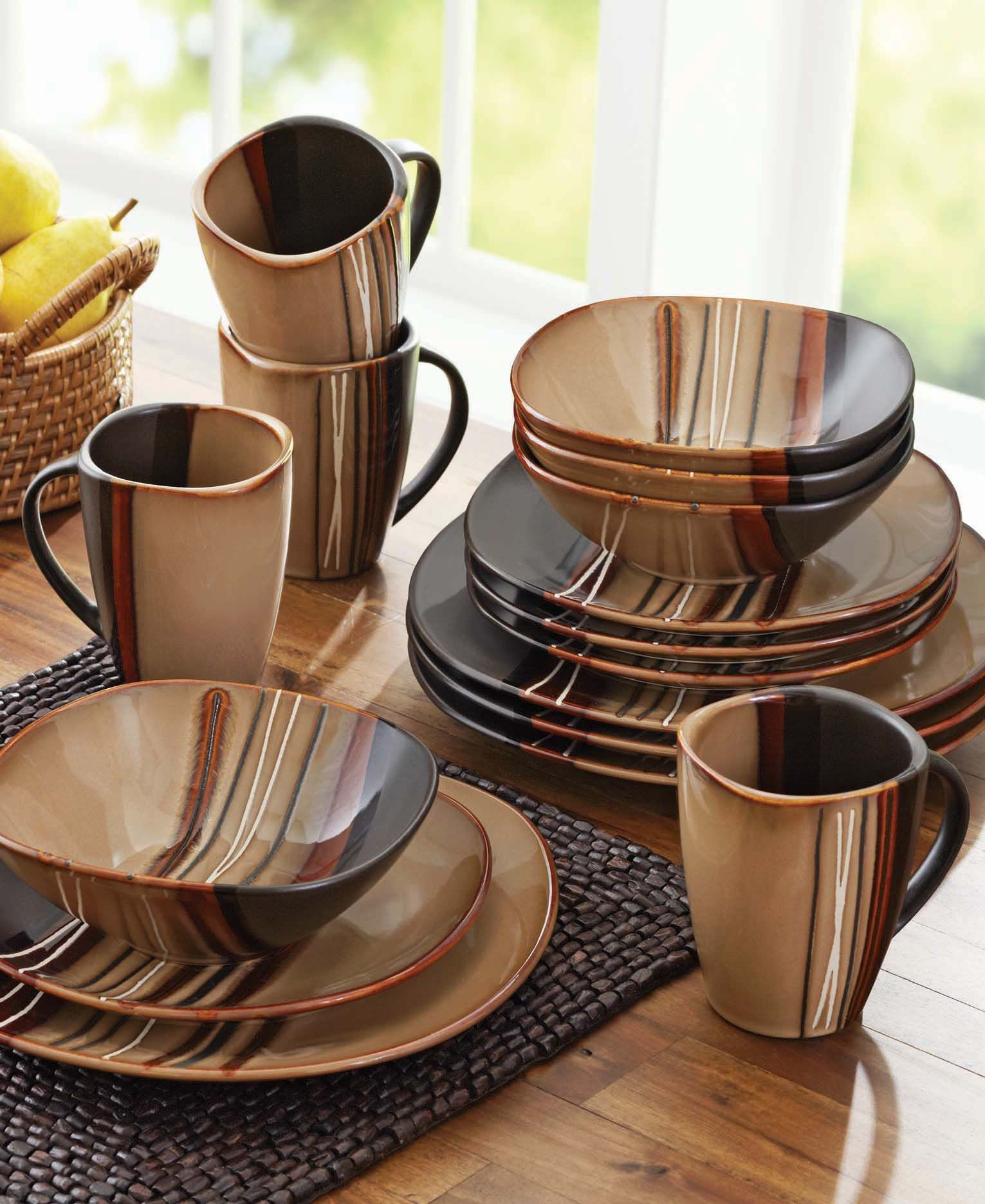 Better Homes and Gardens Bazaar Brown 16-piece dinnerware set. A ...