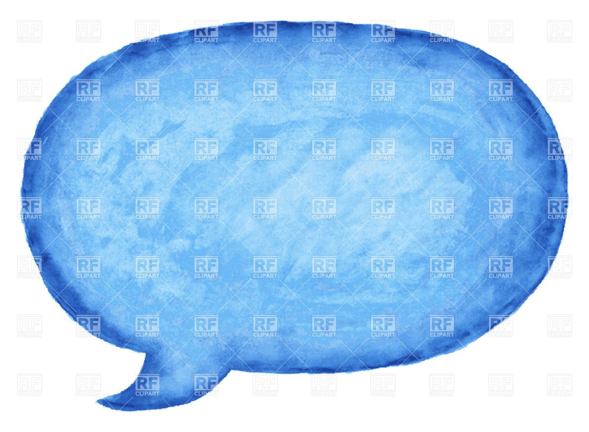 Blue watercolor speech bubble, 12982, Icons and Emblems