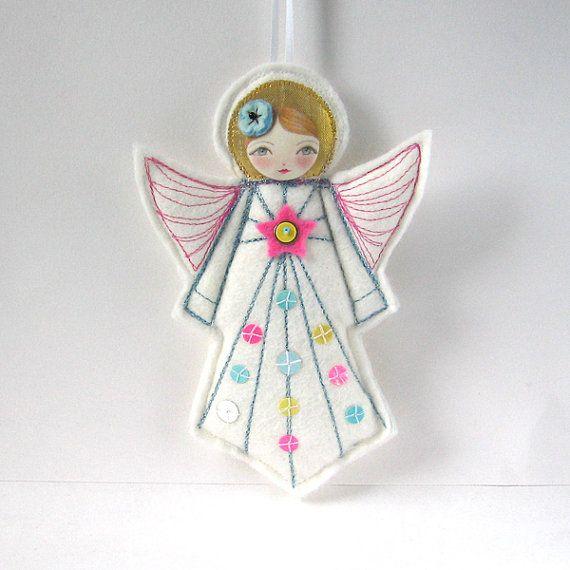 Textile Angel Ornament, Felt Angel Ornament, Modern Folk Angel, Christmas  Angelu2026