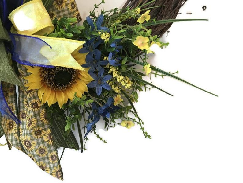 Photo of Sunflower wreath for front door, summer wall hanging, wild flower wreath, porch decor, everyday yellow and blue wreath, GiGiMasterpieces