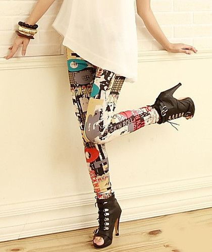 0e1846f671ce US Shipping Womens Girls Funky Graffiti Print Legging Collections Pants  Tights | eBay