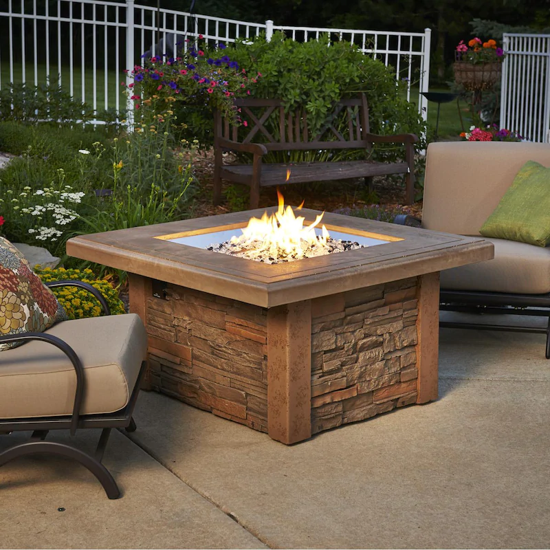The Outdoor Greatroom Company Sierra 43 Inch Square Natural Gas Fire Pit Table With 24 Inch Crystal Fire In 2020 Fire Pit Table Patio Furniture Fire Fire Pit Table Set