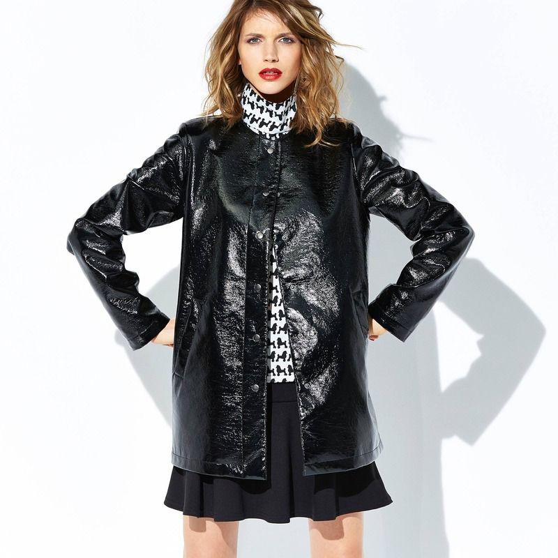 Manteau long noir femme zara