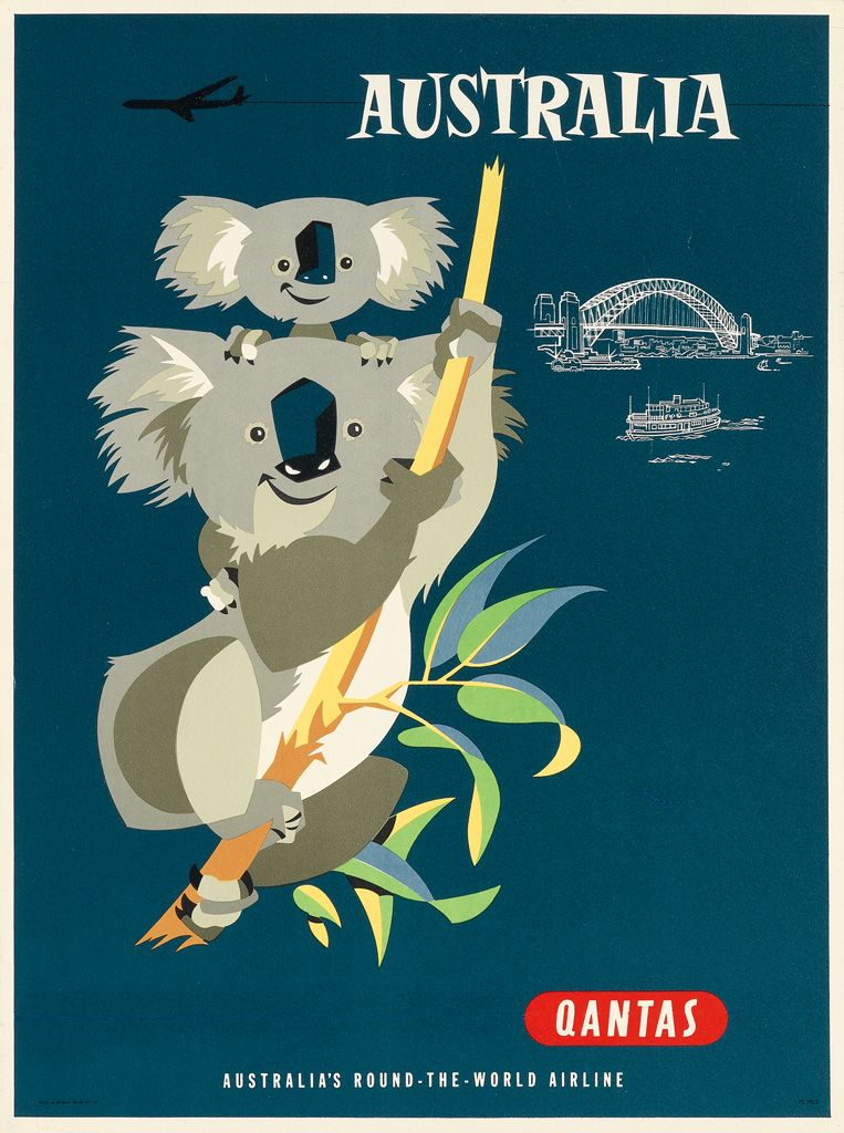 Full Details For Lot 504 Vintage Airline Posters Posters Australia Vintage Travel Posters