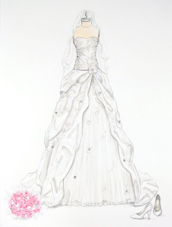 Custom wedding dress illustration with crystal accents by Wedding dress illustration