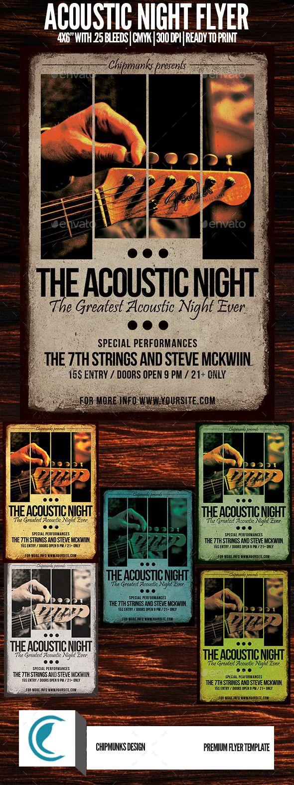 Acoustic Night Flyer. Customizable professional template for a concert flyer. #FlyerTemplate #flyer #concert #GraphicTemplate #design #PrintDesign #acoustic #AcousticFlyer #AcousticMusic #alternative #band #club #event #EventFlyer #festival #gig #grunge #indie #IndieBand #IndieFlyer #music #night #party #poster #PrintTemplate #rock #RockMusic #typography #UnpluggedGig #urban