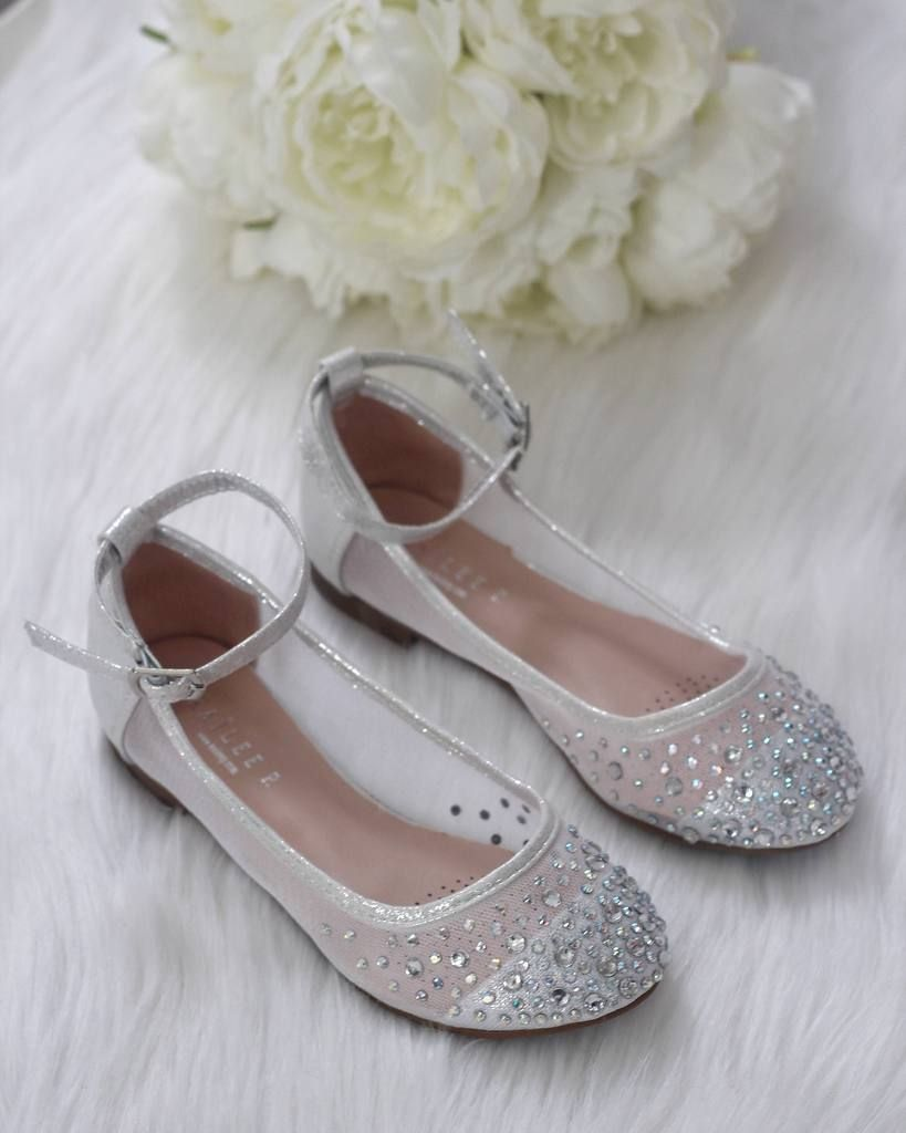 SILVER Embellished Mesh Ballet Flats | Flower girl shoes
