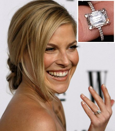 Engagement Rings Celebrity: Ali Larter -- An Emerald Cut On A Pave Band.