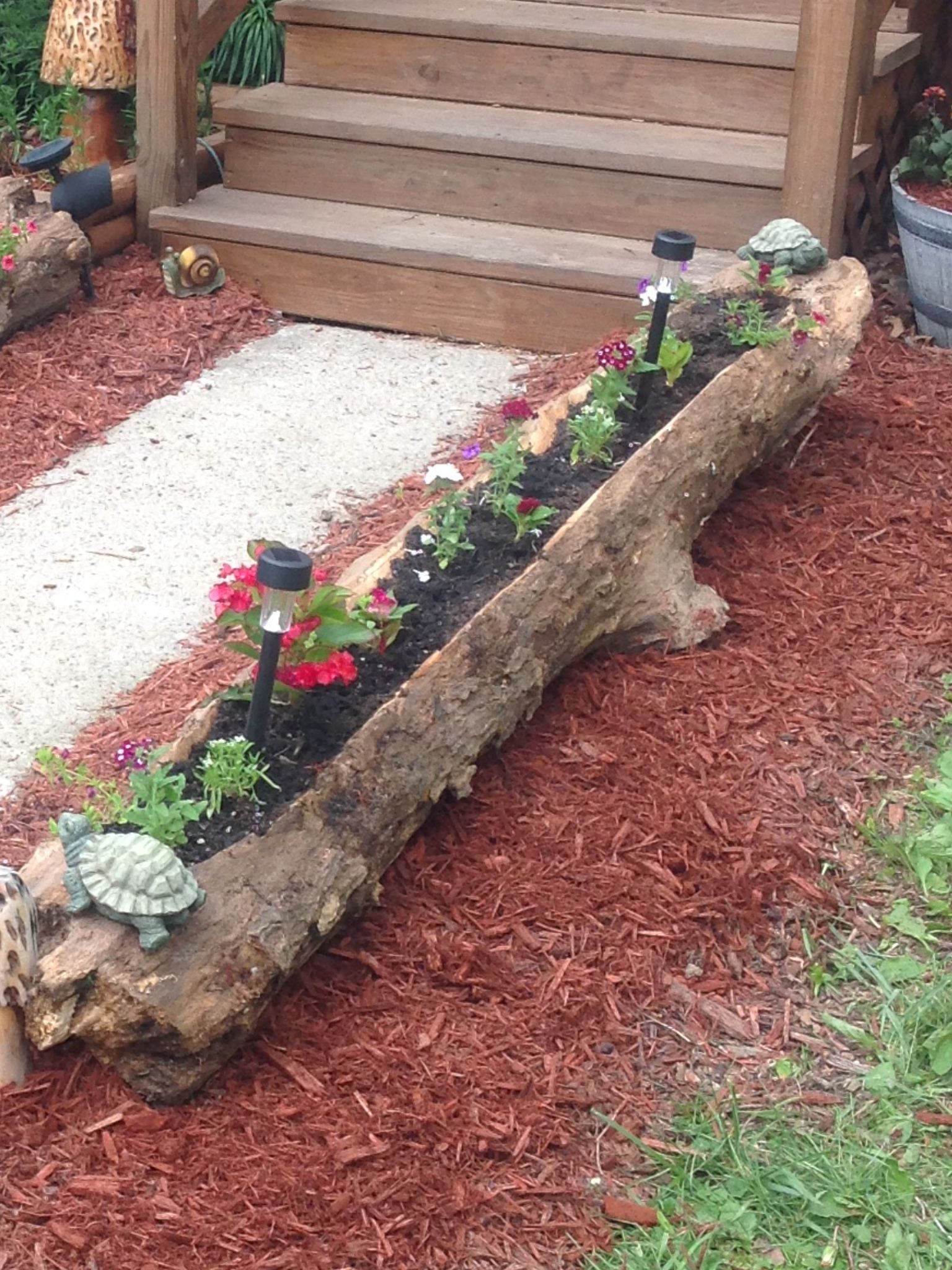 Log Flower Bed My Husband Made Rustic Landscaping 400 x 300