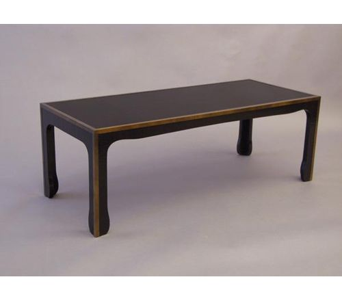 F 5200 : MING STYLE BROWN/BLACK CRACKLED CASHEW LACQUER COFFEE TABLE WITH  METAL