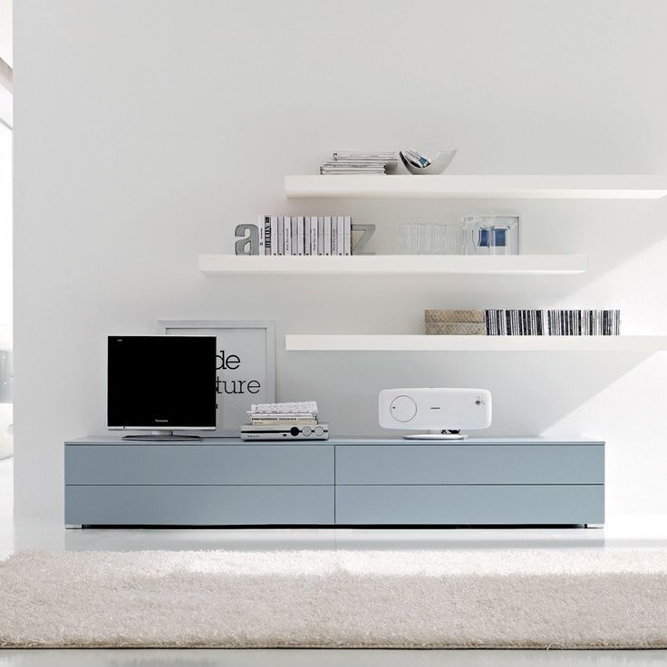 BESTA cabinets and LACK floating shelves to create living room