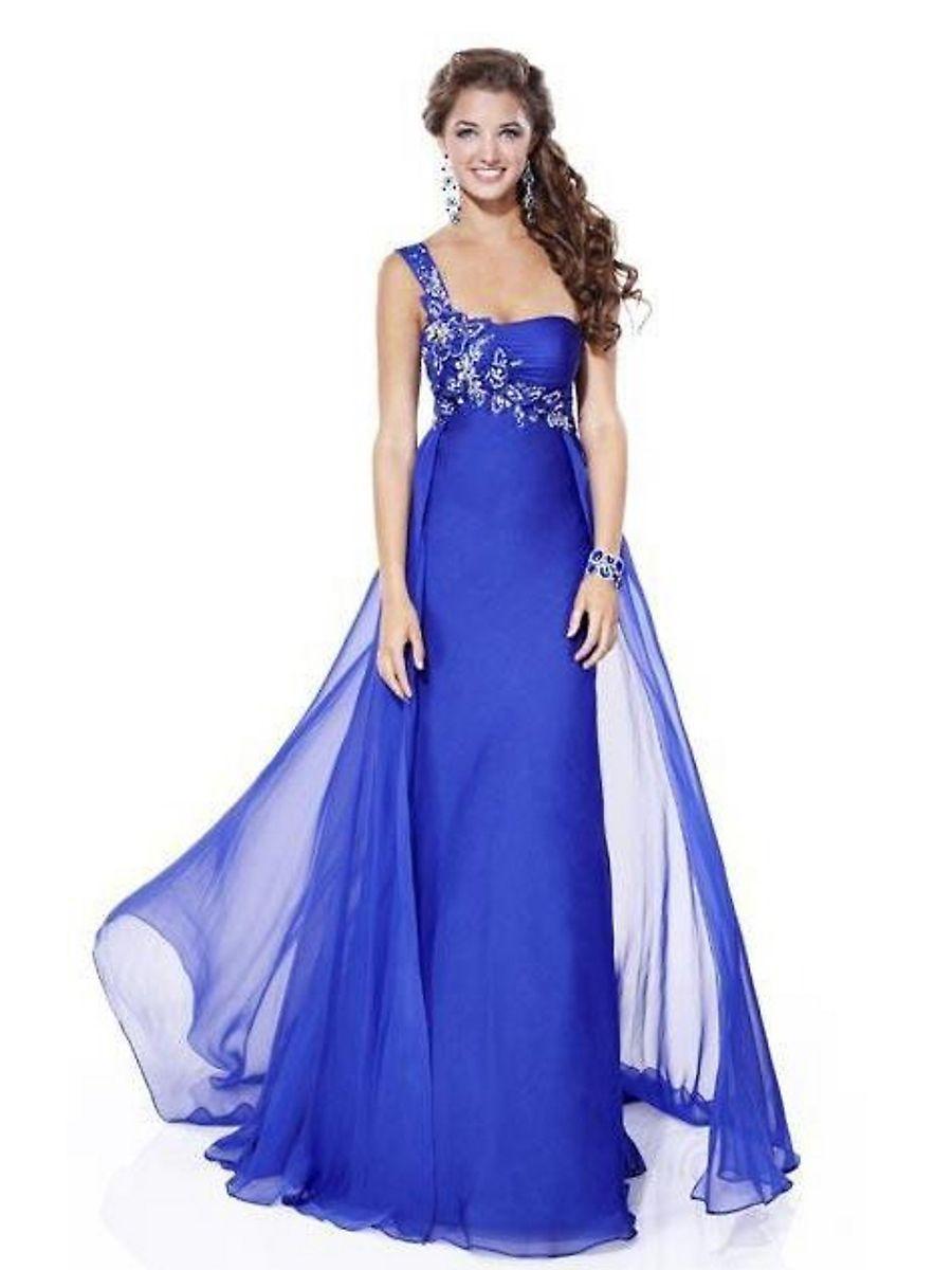 c4c017eb9 vestido azul rey de un solo hombro