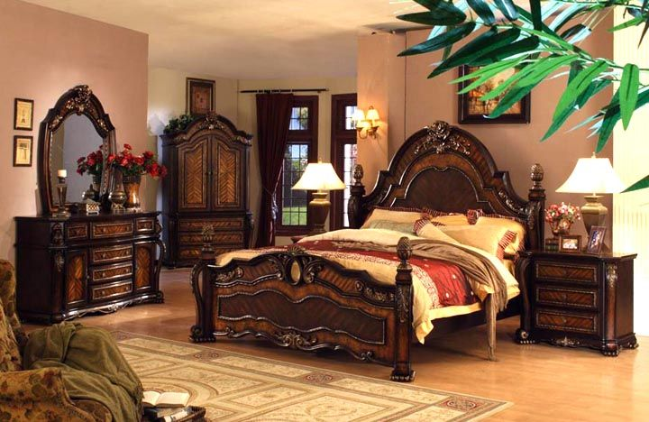 Mollai Collection 6pc Bedroom Set With Hand Crafted