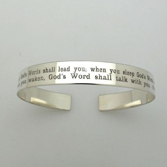 Message Engraved Sterling Silver Bracelet 2 Rows Custom Quote Best Gift Inspirational Cuff For Wife Graduation