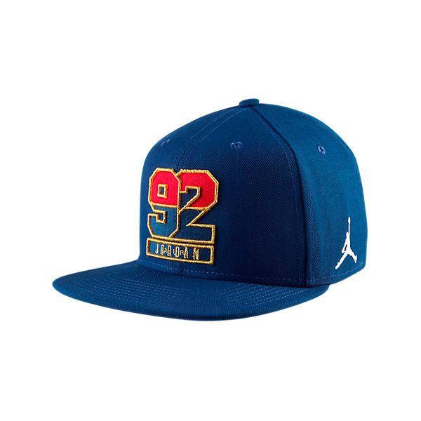 825de9c4cb8 Nike Air Jordan 7 92 Retro Snapback Hat ($25) ❤ liked on Polyvore featuring  accessories, hats, blue, nike, blue hat, retro hats, blue snapback hats and  ...