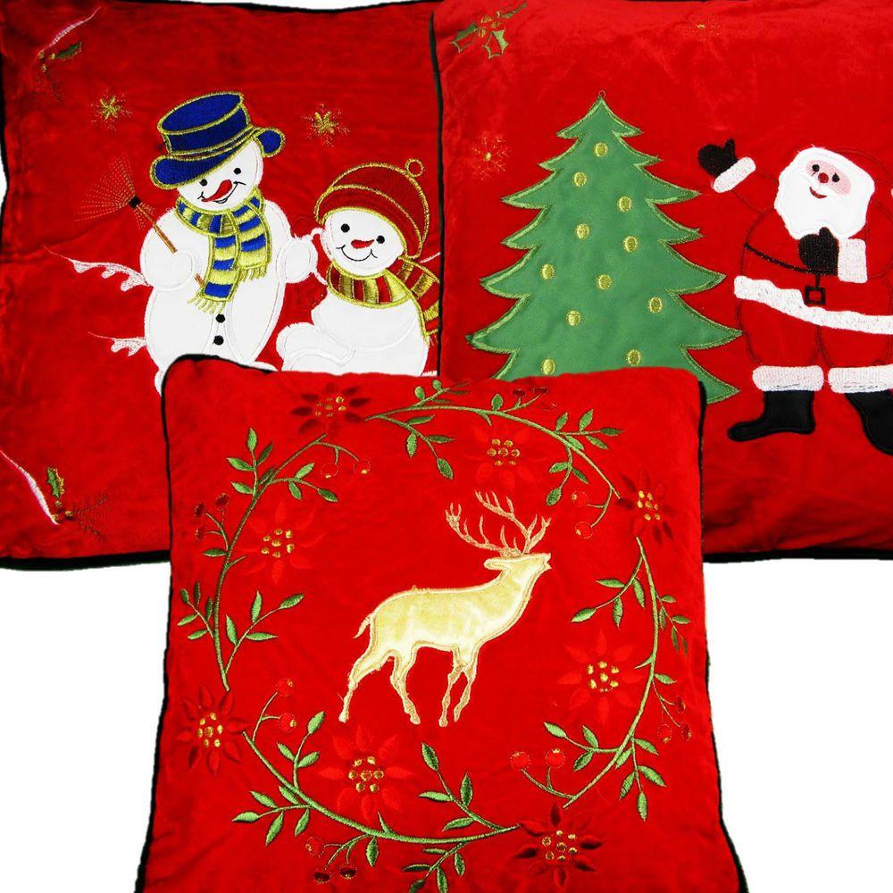 CHRISTMAS CUSHION COVERS SANTA SNOWMAN REINDEER SOFT WARM RED VELOUR 40cm x 40cm