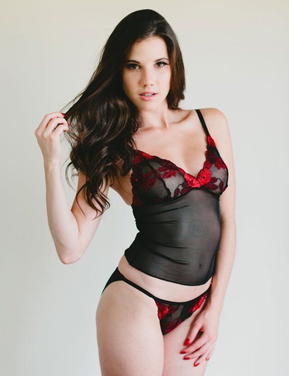Sheer Mesh String Bikini With Red and Black Lace Front -  Magnolia  Style  Panties Made To Order Cust 4f9a9185b