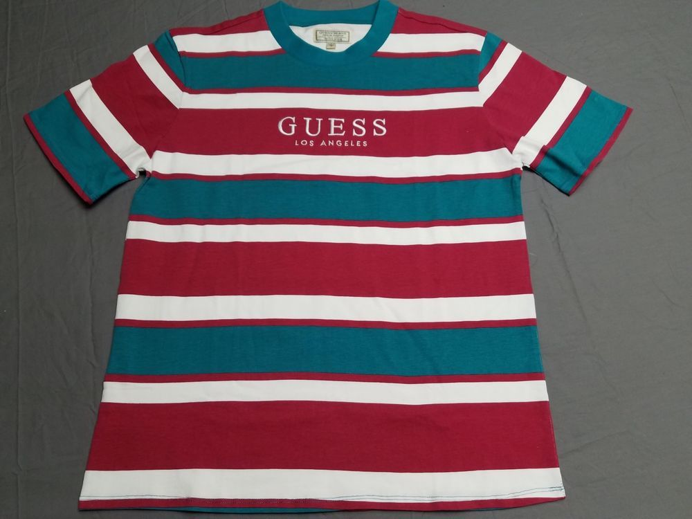 16aa52a429 Guess Jeans Los Angeles Striped T Shirt Capsule Tee Red Teal Medium L  #fashion #clothing #shoes #accessories #mensclothing #shirts (ebay link)