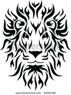 8281347ba tribal lion face tattoo - Google Search | tattoos | Tribal lion ...
