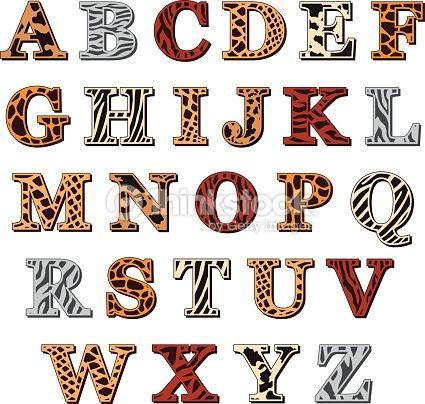 Arte vectorial : Latin alphabet with animal print