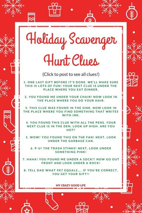 holiday scavenger hunt clues great for extending present time