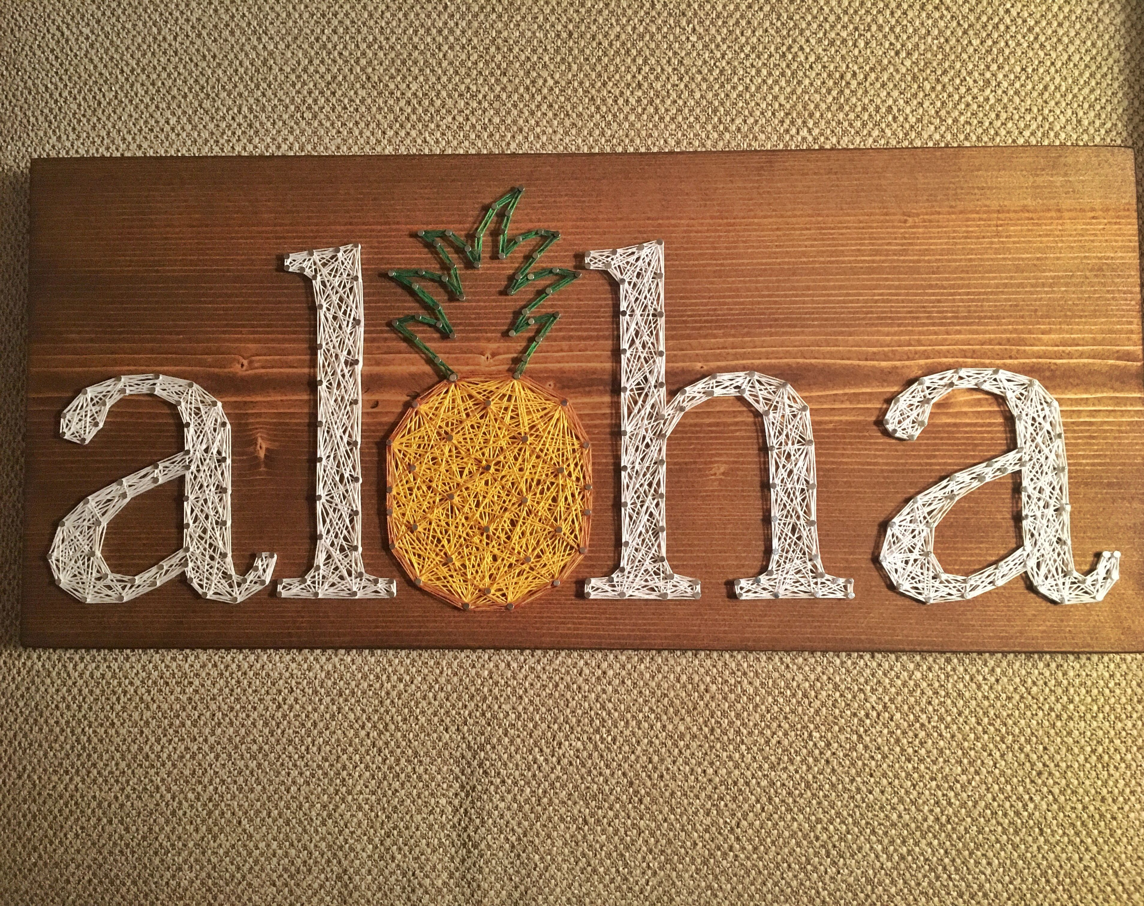 yarn art color garden : Aloha String Art Hawaii Pineapple Welcome Sign Order From Kiwistrings On Etsy