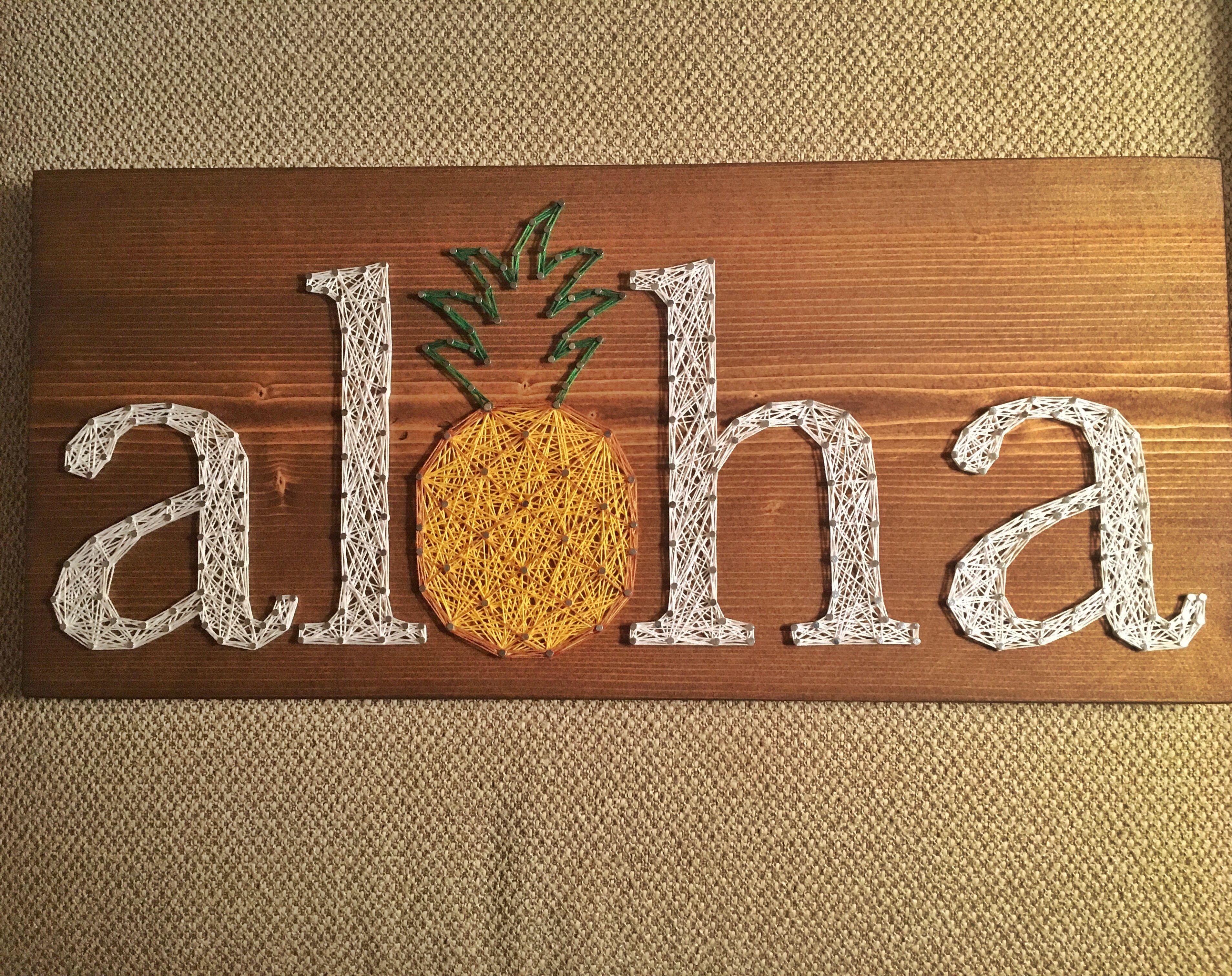 custom aloha pineapple string art, welcome sign, hawaii home decor
