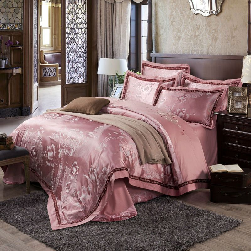 Beautiful Flowers Pattern Bedding Sets Chinese Classical Linens Silk Cotton Jacquard Queen King Size Sheets Sets Beds Bedding Sets Bed Linen Sets Satin Bedding
