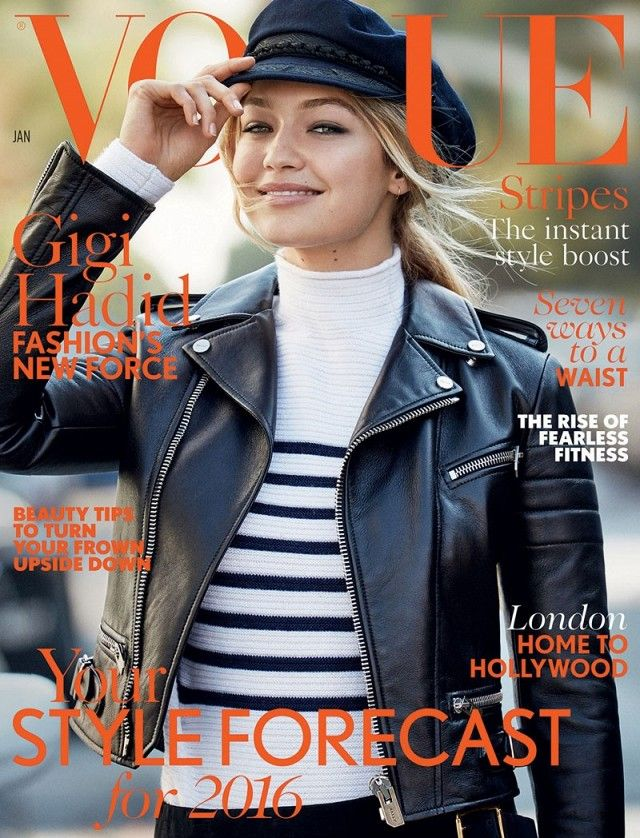 Gigi Hadid wears a striped turtleneck, a black leather jacket and a newsboy hat on the cover of Vogue.