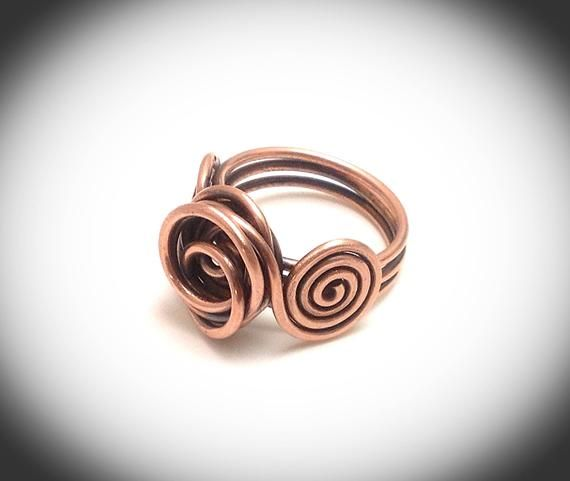 Wire Wrapped Jewelry, Copper Wirewrapped Ring, Wire