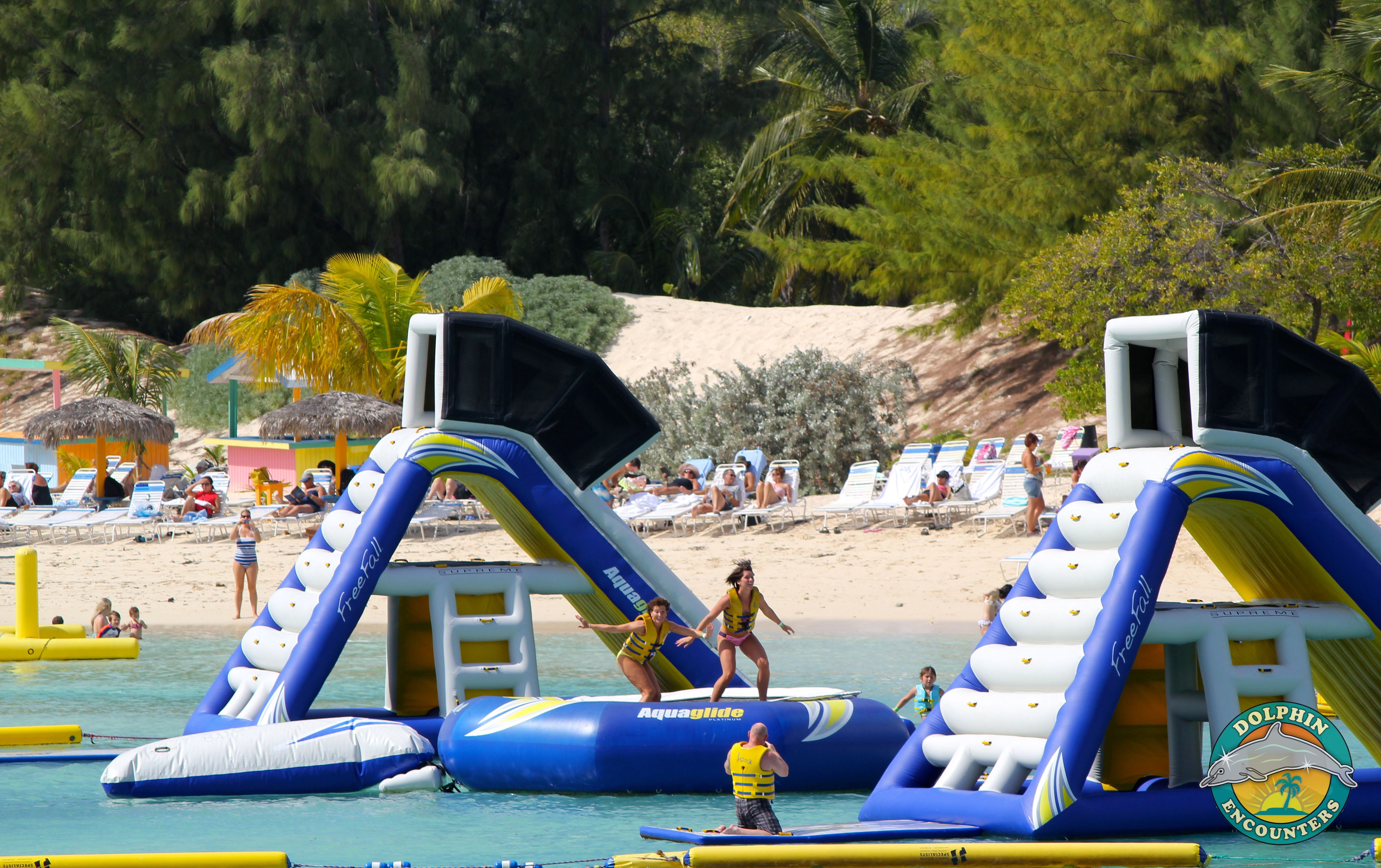 A Trampoline In Our Aquapark On Blue Lagoon Island In The