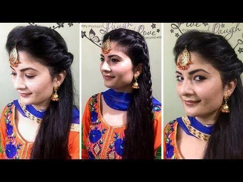 3 easy maang tikka hairstyles for long hair/heatless