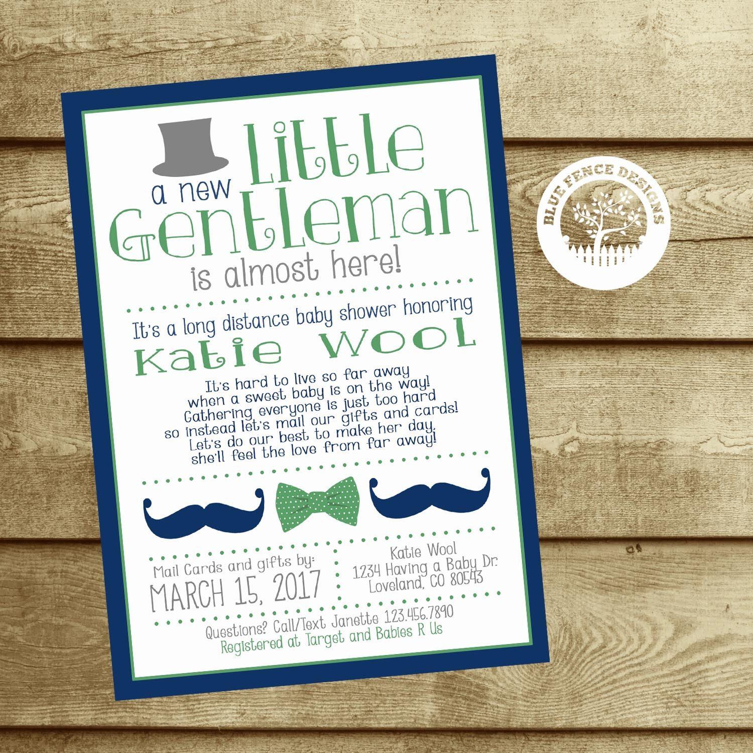 Long Distance Baby Shower Invitation Baby by BlueFenceDesigns | My ...